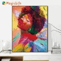 Mode Figure peinture mur Art colore toile peinture abstraite moderne maison decorative image pour salon affiche sans cadre