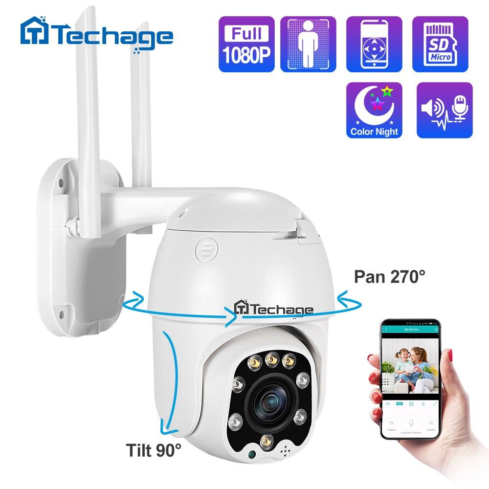 Techage câmera 1080p/inclinação 4x, zoom ótico ptz ip visão noturna ip66 à prova d água, ar livre, hd onvif vigilância cctv