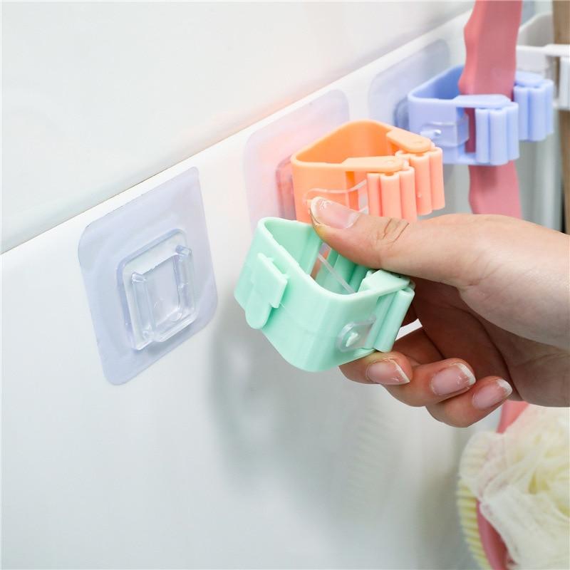Gancho para escoba sin agujeros, estante para fregona, gancho adhesivo para baño, gancho adhesivo para tarjeta, Clip de ranura para limpieza de ducha, soporte adhesivo de plástico para anillos de cierre