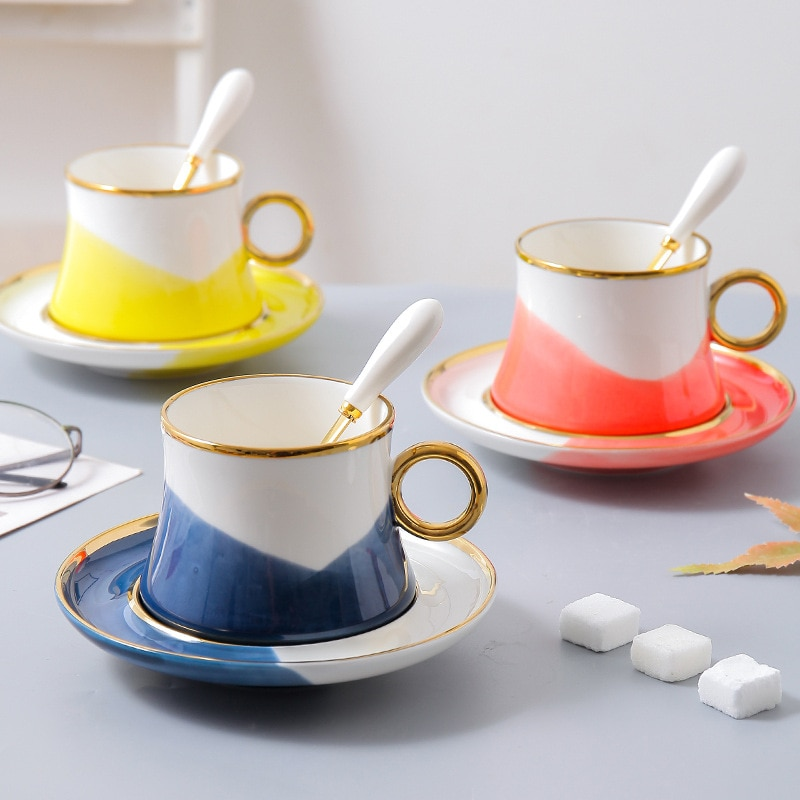 HAP كاندي الملونة المنزلية أكواب القهوة والصحون تحت الصقيل ، صغيرة الطازجة المعطرة الشاي الأسود والشاي بعد الظهر أكواب القهوة