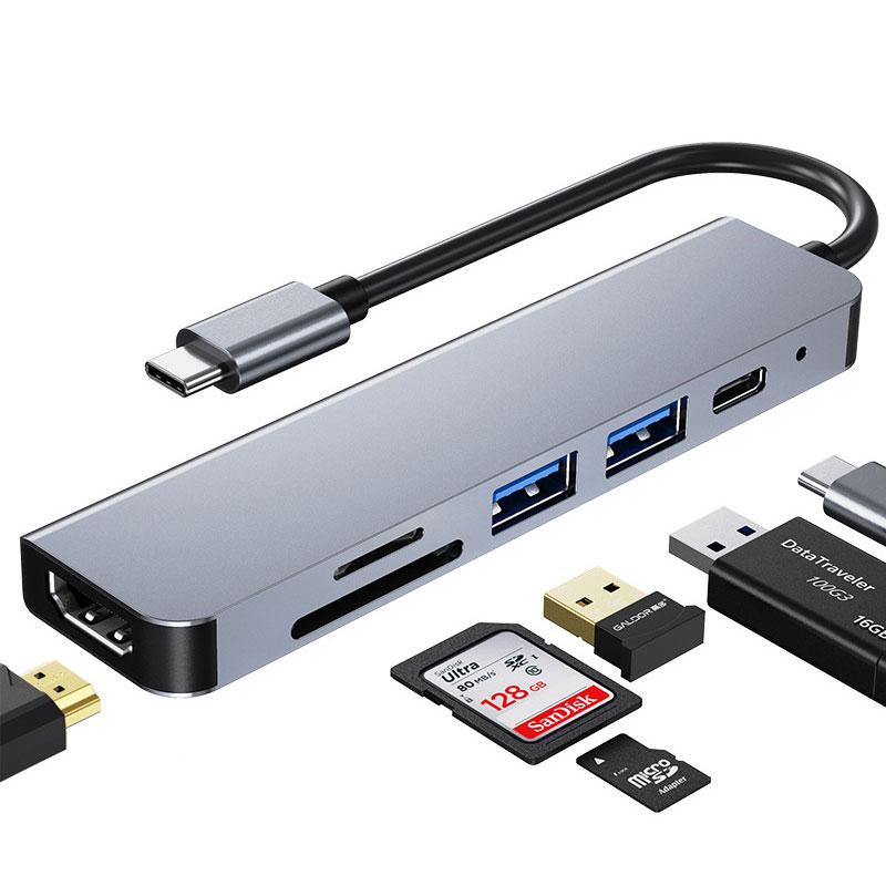 محول USB C قابل للنقل إلى HDMI متوافق مع محول Rj45 100M OTG Thunderbolt 3 Dock مع PD TF SD لـ Macbook Pro/Air M1 2021 Type-C
