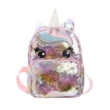 Mochila escolar con lentejuelas de unicornio, bolso de gelatina multicolor, mochila pequeña para mujeres, niñas, talla L, mochila niños guardería, grande de 14,5 pulgadas