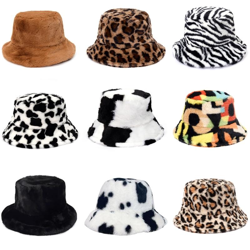 Sombrero de pescador de piel sintetica con estampado de leopardo y vaca para mujer, gorro de pescador de terciopelo suave
