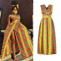 long summer fashion 2021 indie style african dresses for women floral dashiki print maxi dress bandage elegant african clothing