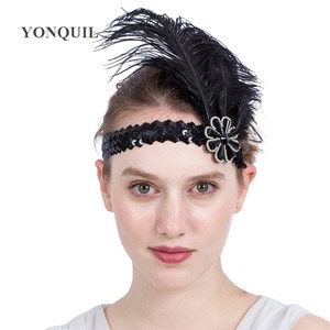 Indian Feather Headwear With Rhinestone Accessories Party Native War Bonnet Fascinators Nice Ethnic Ostrich Feather Headband