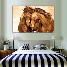Dois cavalos amor animais pintura artística arte da lona ouro poster imprime moderno arte da parede imagem para sala de estar pintura da lona