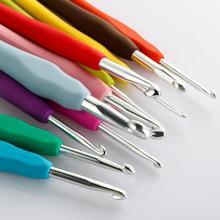 Ensemble de 11 pièces aiguilles à tricoter   Crochet en caoutchouc souple, aiguilles à tricoter, poignée en aluminium TPR coloré pour le tricot, Kit de tissage, livraison directe
