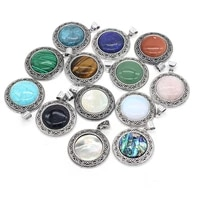 natural stone crystal pendants antique silver color lapis lazuli opal charms making diy handmade tribal necklace jewelry