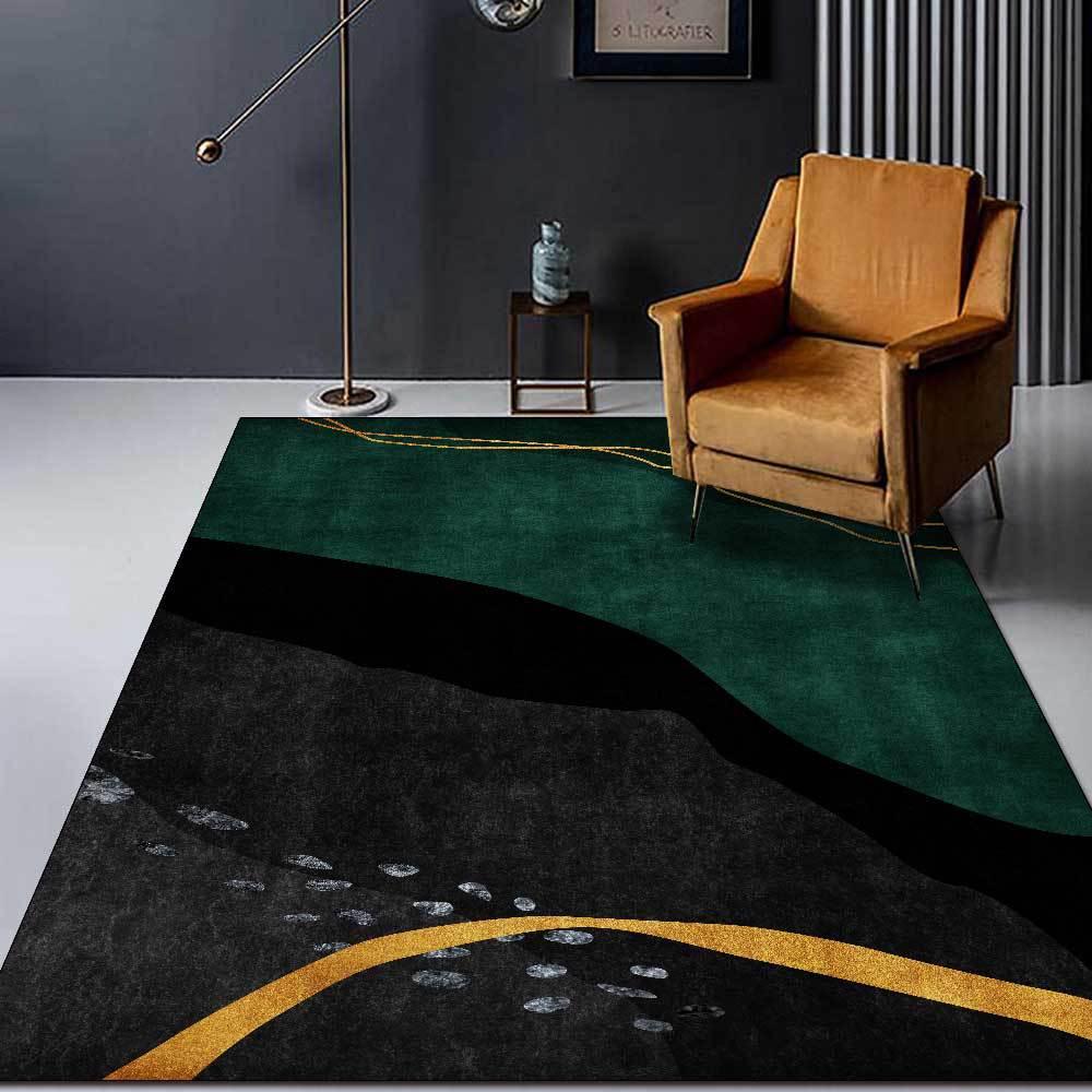 سجادة غرفة نوم بسيطة ، حديثة ، تجريدية ، خطوط ذهبية خضراء ، خطوط هندسية ، سجادة أرضية للمطبخ ، المدخل