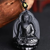 natural black obsidian stone bodhisattva pendant necklace popular fashion boutique jewelry buddha statue pendant necklace jewel