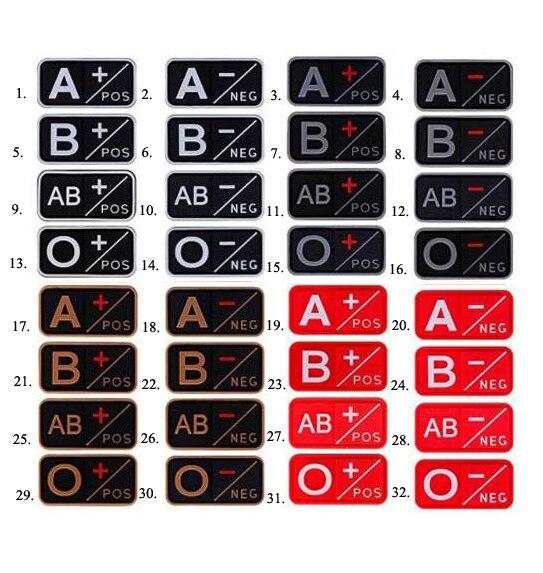 전술 3d pvc a + b + ab + o + 긍정적 인 pos a-b-ab-o-네거티브 neg 혈액형 패치 의류 용 군용 고무 배지 후크 및 루프