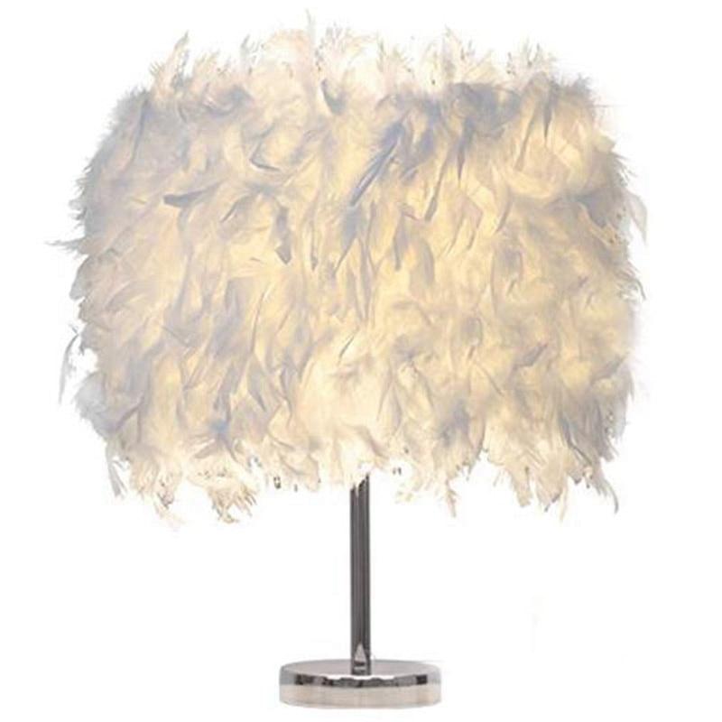 TOP!-Feather Shade Metal Table Lamp Bedside Desk Vintage Night Light Christmas Decor Soft Vintage Bedroom Study Room Eu Plug M