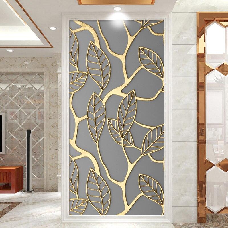 2pcs/set Flat Tree Leaves DIY Door Decorative Paintings Bedroom Porch Door Art Mural Peel & Stick Print In 2D PVC Wallpaper