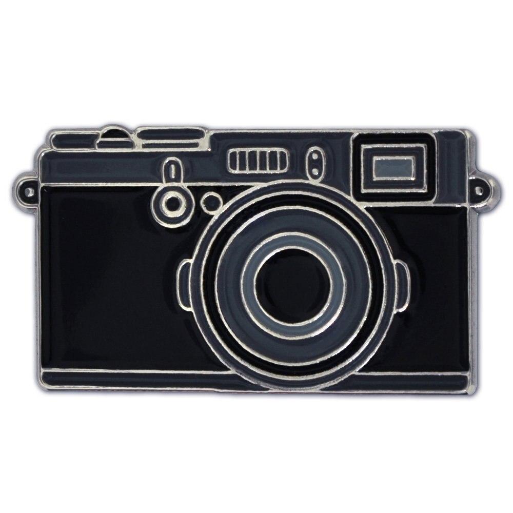 Модная черная эмалированная булавка-значок для фотографирования с изображением влюбленных