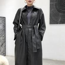 Gabardina larga de cuero para mujer, chaqueta de piel de oveja sintética de un solo pecho de otoño, gabardina larga informal ajustada con cinturón para trabajo, camisa de negocios