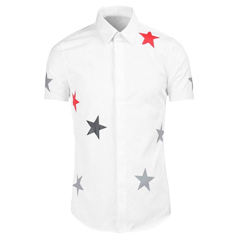 جديد 2021 قميص رجالي كلاسيكي فاخر موضة نجوم قطن قمصان عادية قميص جودة عالية أكمام قصيرة مريحة A69