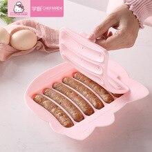 Hallo Kitty Küche 3d Silikon Mold Huhn Wurst Form Kind Baby Ergänzende Lebensmittel 6 in 1 Gedämpfte Reis Kuchen Heißer hund Form