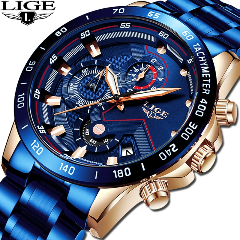 LIGE Gift Business Men Watch Luxury Brand Stainless Steel Wrist Watch Chronograph Army Military Quartz Watches Relogio Masculino cheap watch outdoor casual men brand army military sports watches men silicone quartz wrist watch relogio masculino montre homme