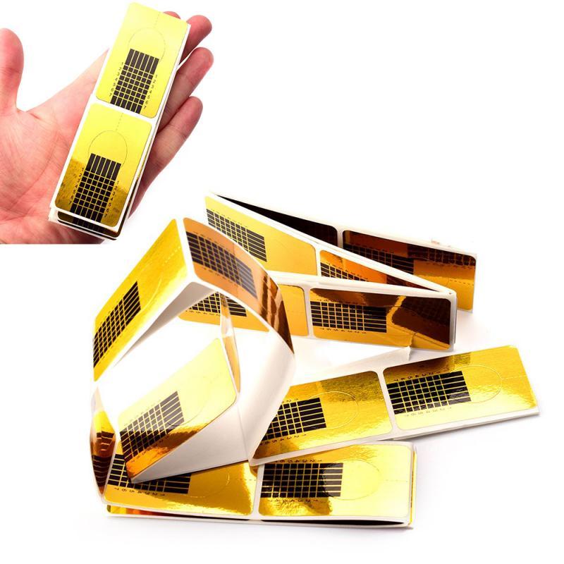 50pcs Golden Horseshoe Shape Nail Forms Nail Art Sculpting Acrylic UV Gel Nail Tips Extending Tools Guide Stickers Nail Art Tool