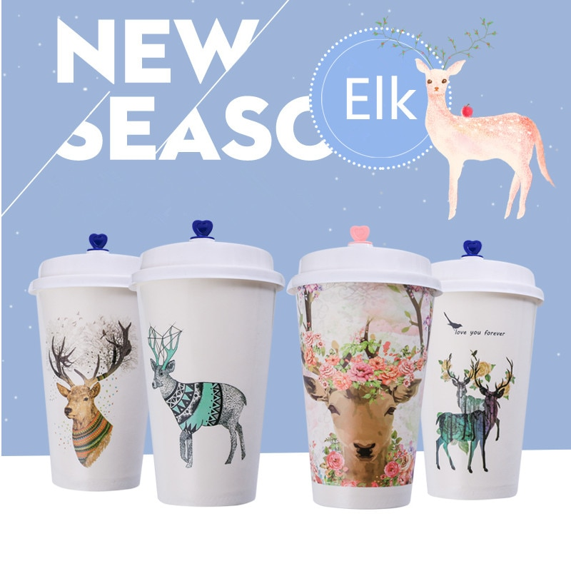 50pcs High quality disposable coffee milk tea cup 500ml 16oz party favors drinking paper cups takeaway packaging cup with lid