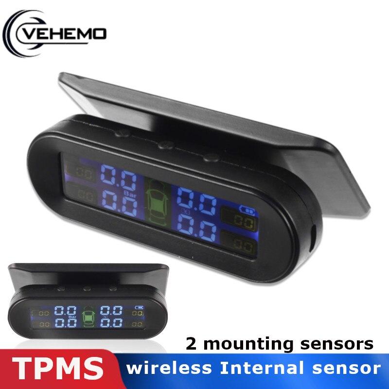 Vehemo LCD coche TPMS con 4 externa/construido-en el Sensor de seguridad sistemas de alarma de TPMS tipo de neumático sistema de supervisión de presión de