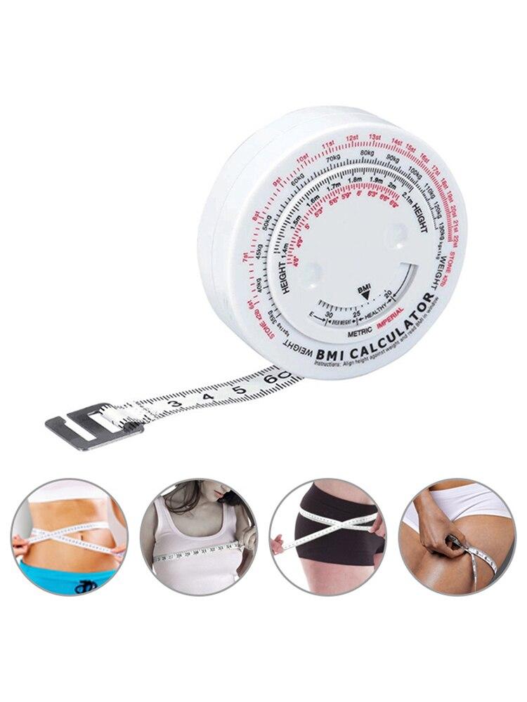 BMI Tape mide la grasa corporal, cinta métrica de 150cm, calculadora de cintura retráctil, herramientas de medida para brazo, pecho, pantorrilla, muslo y cadera