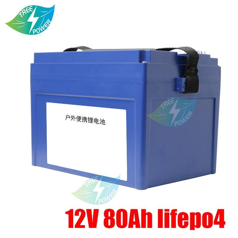 الليثيوم 12V 80AH Lifepo4 بطارية BMS 4S 12.6V للطاقة الشمسية عربة جولف عربة سفر مقطورة رصد RV + 10A شاحن