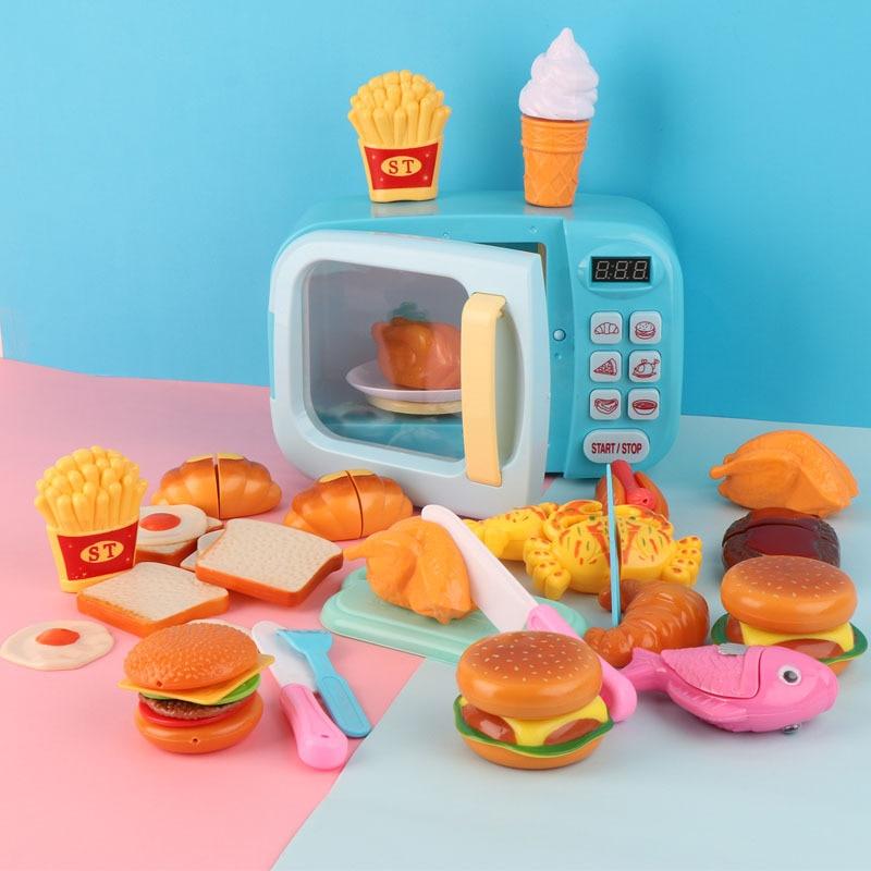 Детская мини-игрушка для кухни, микроволновая печь, время для веселья, детский игровой домик для приготовления пищи, развивающие игрушки, по...