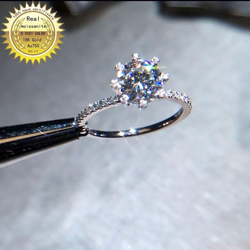 Anillo de oro de 18 K, anillo de moissanita DVVS de 1 Ct, joyería de compromiso y boda con certificado 0064