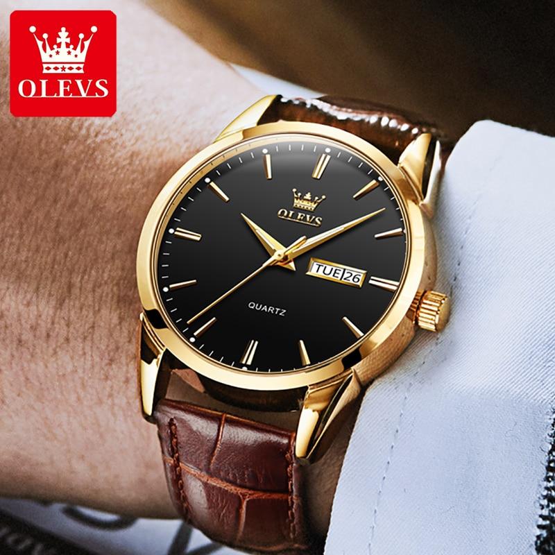 OLEVS Luxury Brand Men's Watches Waterproof Calendar Week Display Quartz Wristwatch Men Wathes Gifts