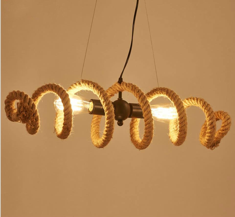 Loft personalized water pipe hemp rope chandelier restaurant cafe bar clothing shop Nordic retro industrial wind Chandelier