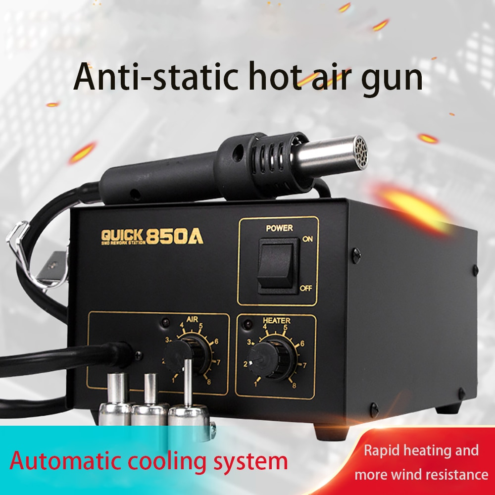 QUICK 850A Hot Air Gun Desoldering Tool Repair Station Mobile Phone Motherboard Removal With Nozzles IC CPU Repair