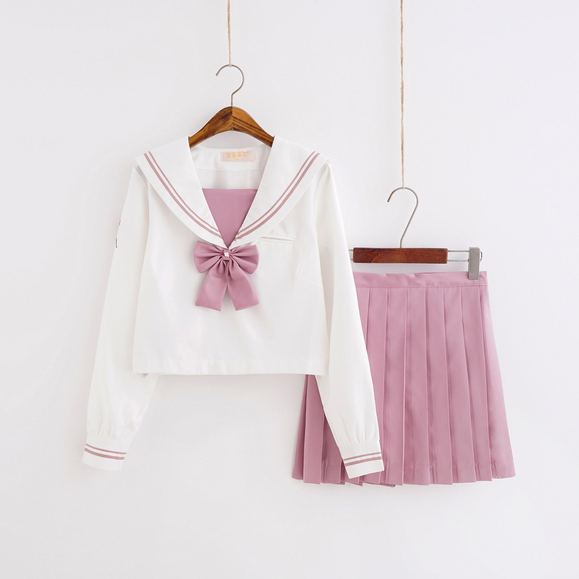 school uniform outfit white short sleeve top and pink skirt School Uniform Outfit White Long Sleeve Shirt and Pleated  Pink Skirt