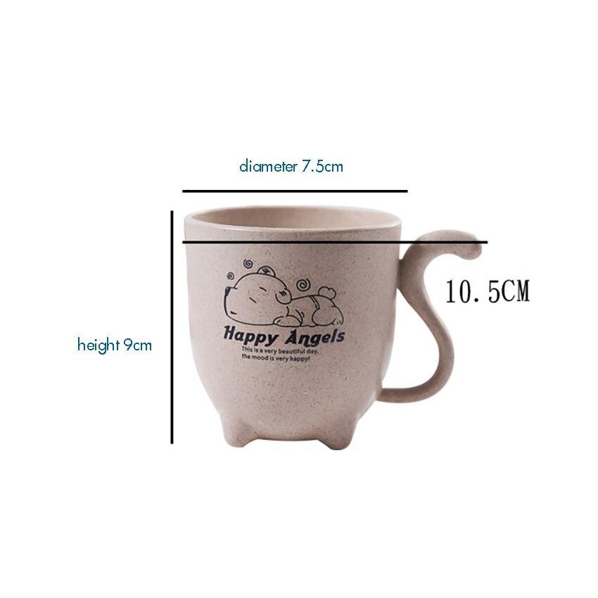Купить с кэшбэком Cute Cartoon Wheat Straw Plastic Tumbler with Handle for Water, Coffee, Milk, Tea Unbreakable Reusable Drinking Cup Kids Adult