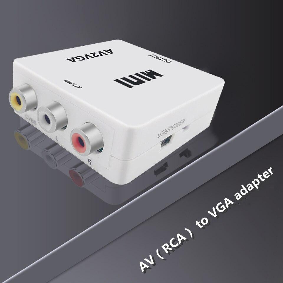 MEUYAG-convertidor Mini HD RCA a VGA, convertidor AV2VGA con Audio de 3,5mm,...