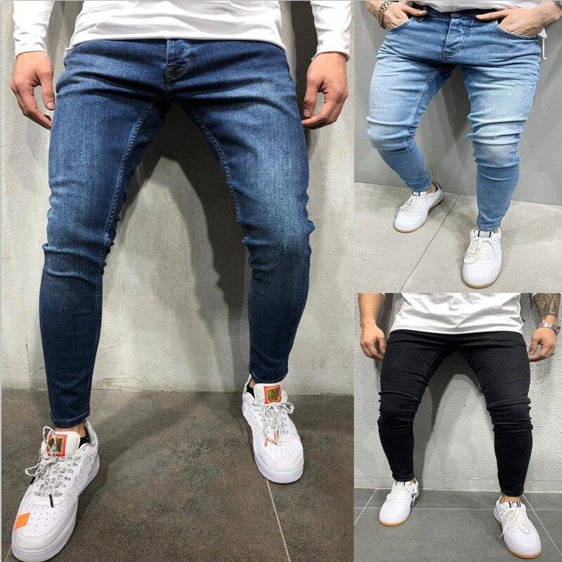 Джинсы-Карандаш мужские Плиссированные, узкие брюки из денима, байкерские черные облегающие джинсы в стиле хип-хоп, уличная одежда