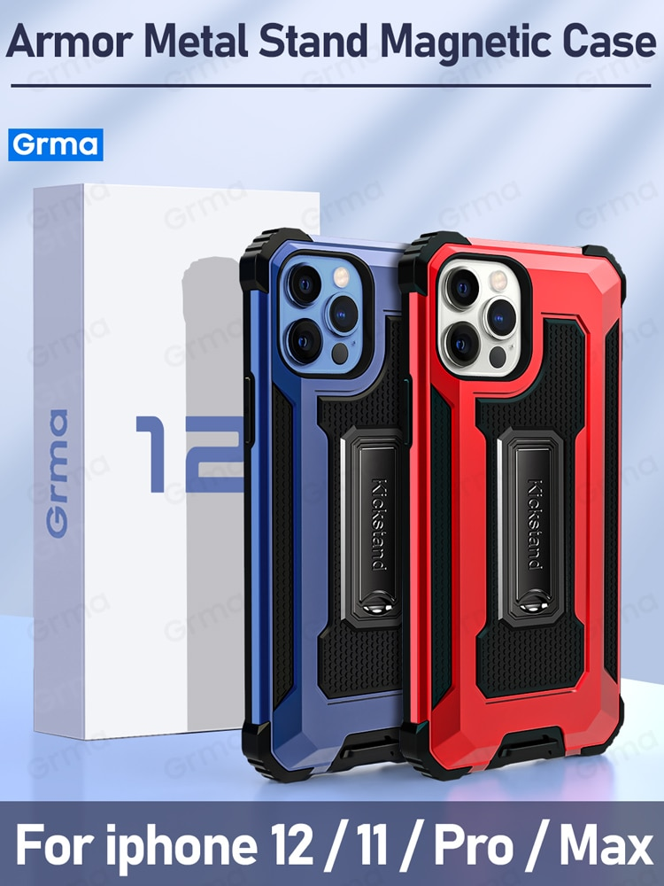 Grma Armor Metal Stand Holder Cover for iPhone 12 Pro Max mini Magnetic Case for iPhone 11 Pro XS Ma