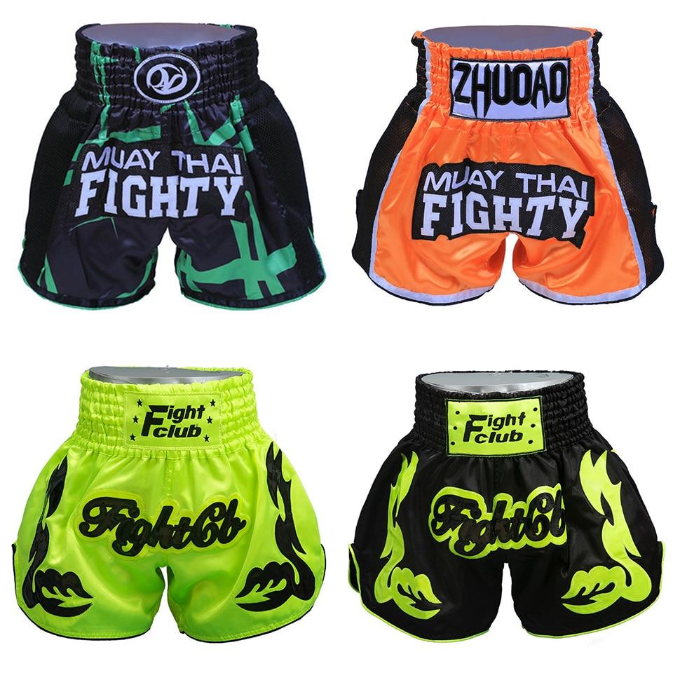 Штаны для кикбоксинга, дышащие шорты для тайского бокса для мужчин и женщин, спортивные шорты для фитнеса и бокса
