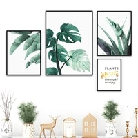 monstera aloe palm leaf quote green plant wall art canvas painting nordic posters and prints wall pictures for living room decor