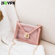 Fashion Small PVC PU Leather Transparent Shoulder Handbags Set for Women Mini Mobile Phone Chain Hasp Crossbody Messenger Bag