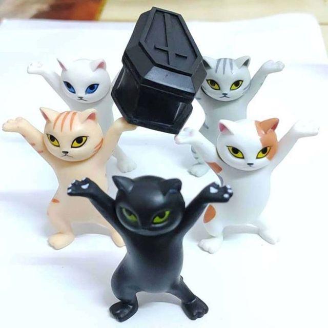 Cat pen holder black cat without coffin bracket Kids Funny Cat Pen Holder Kids Adult Doll Toy Gift Weightlifting Cat Pen holders 4