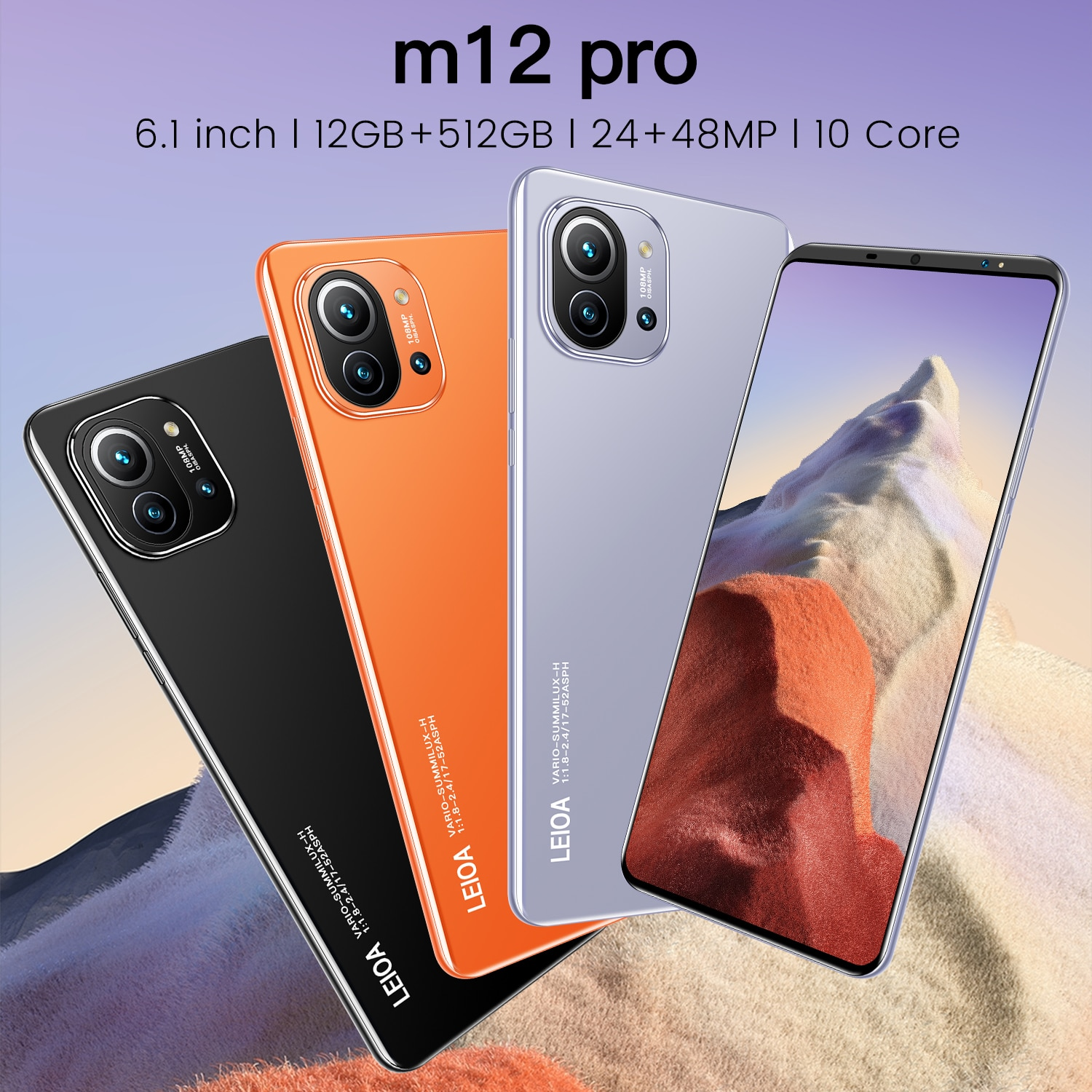 Cheapest Smartphone M12 Pro 6.1 Inch Full HD Screen 12G Ram 512G Rom Smart Phone Android 10 Deca Core Dual SIM GPS Mobile Phone
