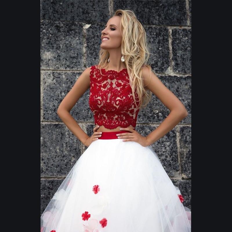 MoonlightShadow Unique Red Flower Wedding Dresses A-Line O-Neck Sleeveless Appliques Fluffy Bridal Gown Vestido de novia