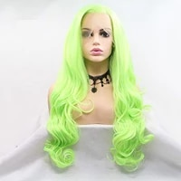 fluorescent green natural wave synthetic lace front wigs side part half tied cosplay wigs heat resistant fiber hair for women