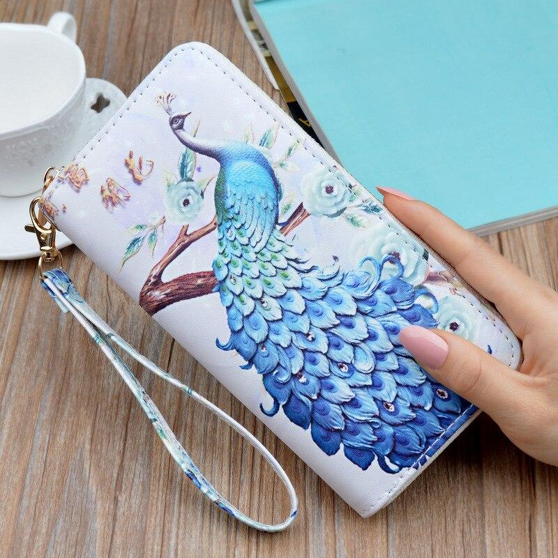 2020 Womens Wallet Peacock Print Wallet Fashion Hand bags Wild Zipper Clutch Bag Multi-card Women Bag Purse portfel damski