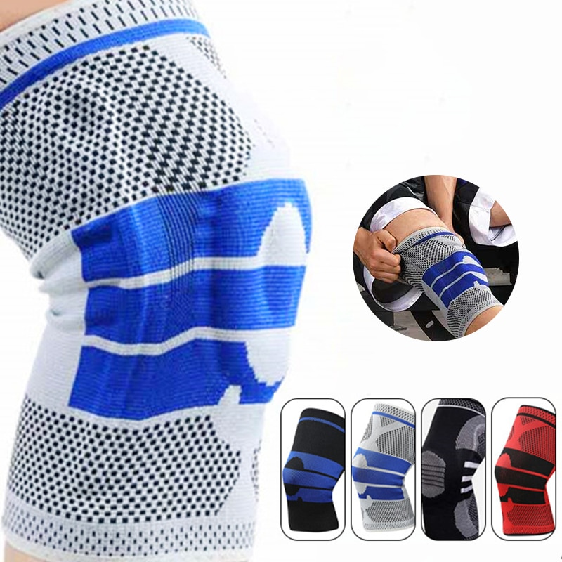 1 Piece Silicone Knee Pads Strap Knee Braces for Arthritis Knee Pads for Joints Support Meniscus Compression Protection Sport недорого