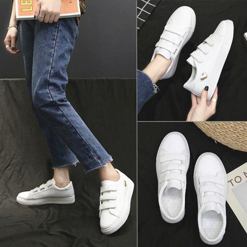 Sapatos de couro pu femininos, tênis casual branco com gancho e laço de lona, cor sólida, para mulheres, verão, 2020 zapatos
