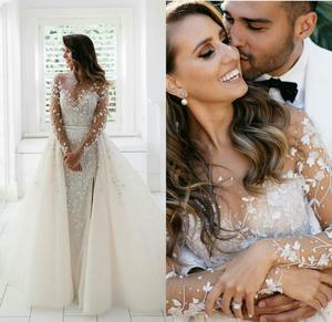 Gorgeous Mermaid Wedding Dresses With Detachable Train Lace Appliques Long Wedding Dress 2020 Plus Size Robes De Mariée