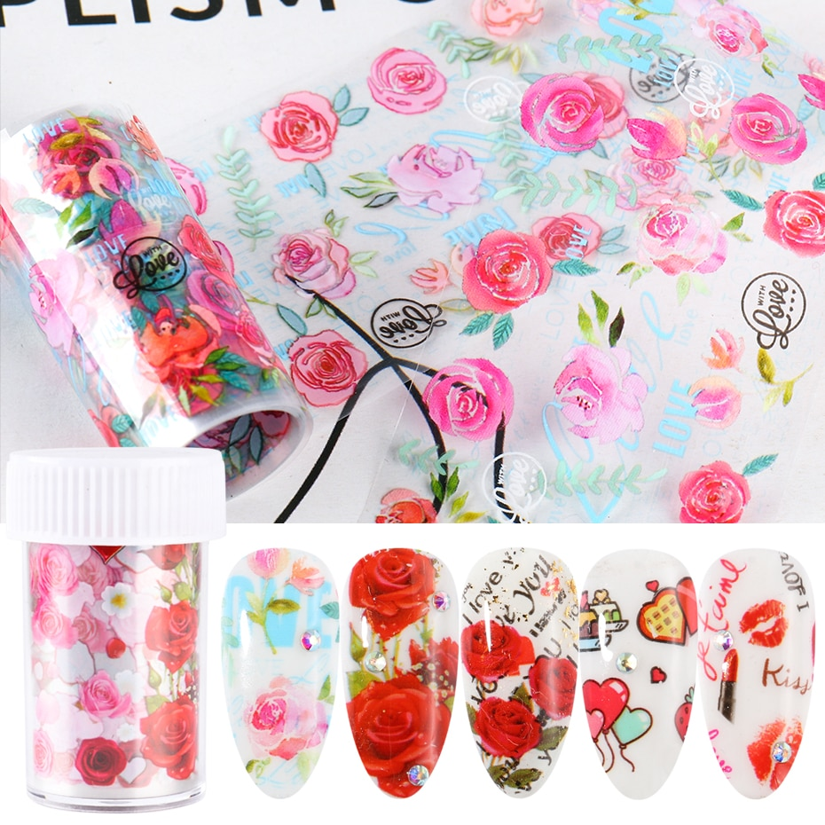 Rose Flowers Foil For Nail Sticker Lettering Heart Transfer Slider Design Starry Sky Paper DIY Manicure Decoration Decals LAB109
