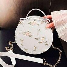 Embroidery Womens Handbag Fashion Lace Fresh Crossbody Bag Solid Small Round Bag Shoulder Crossbody Bag Card Holder Coin Purse